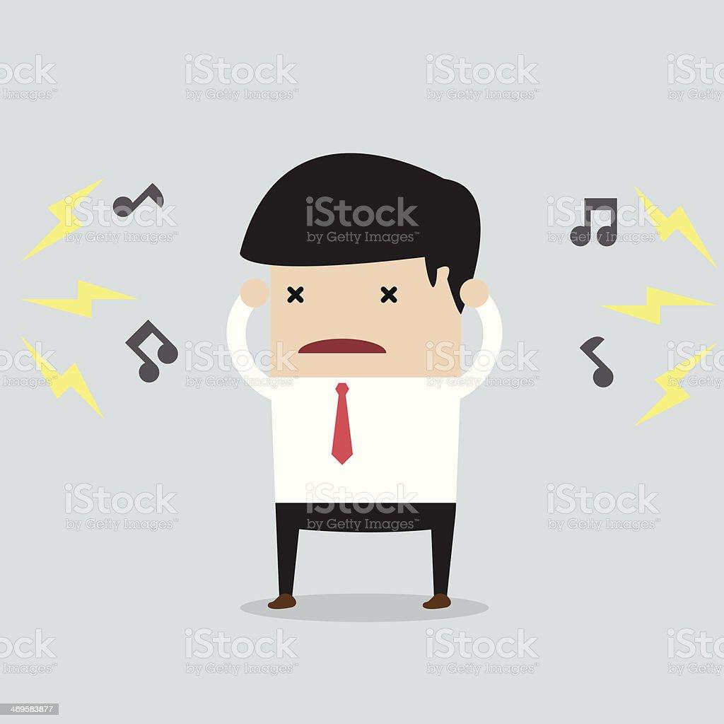 Businessman with noise vector art illustration