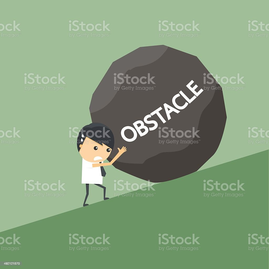Businessman with obstacle stone. vector art illustration