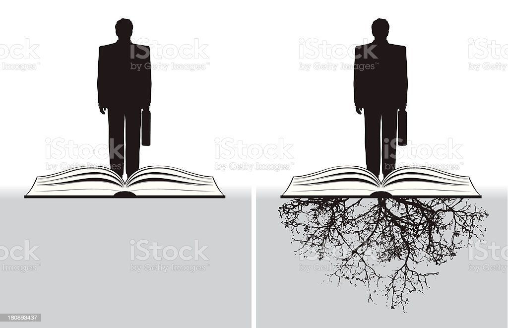 businessman with open book and roots royalty-free businessman with open book and roots stock vector art & more images of adult