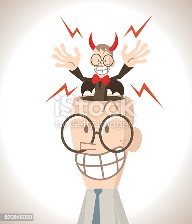istock Businessman with open head, a little red devil standing in the head 820846030