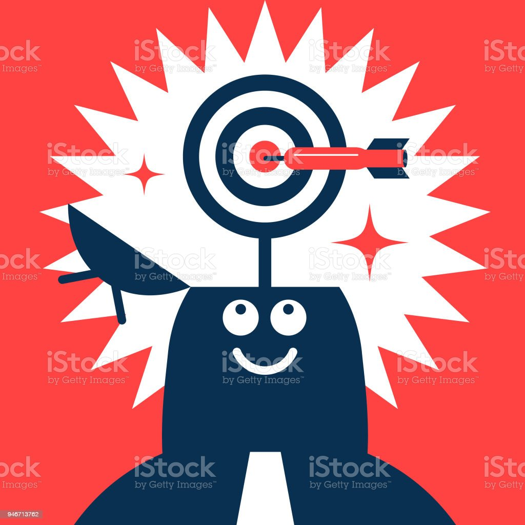 Businessman with opened head and dart board (target), a dart hitting the bull's-eye vector art illustration