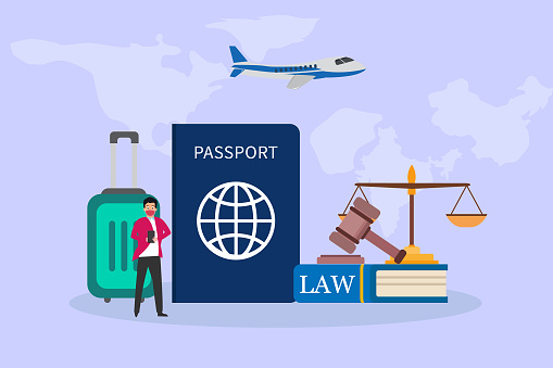 Businessman with passport and law book