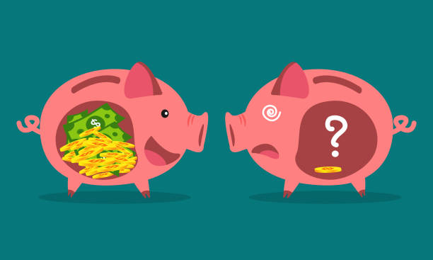 Businessman with piggy bank. Money savings concept. vector art illustration