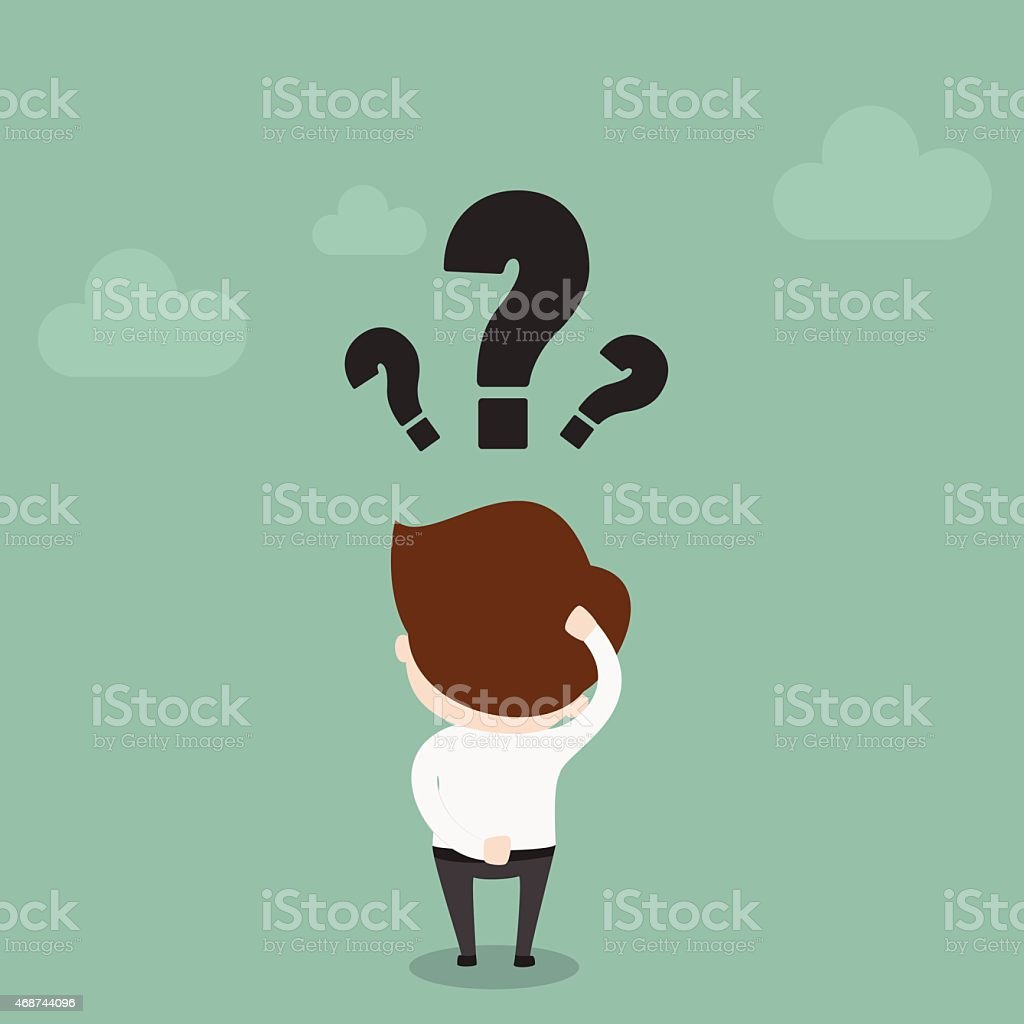 Businessman with question mark over his head. vector art illustration