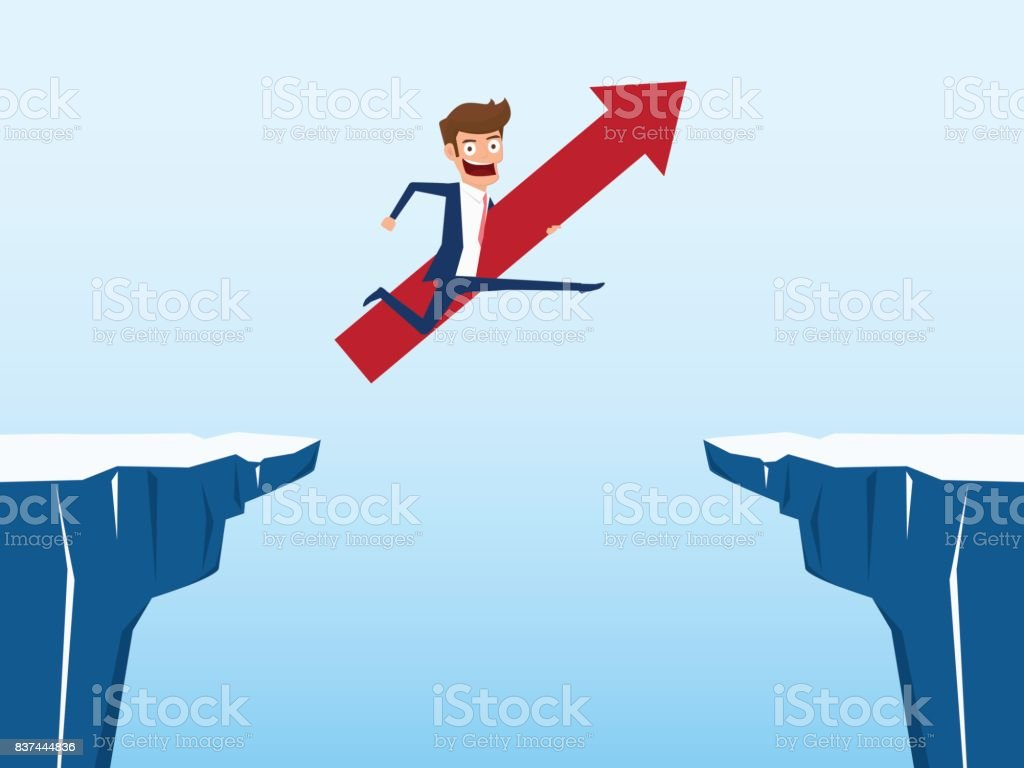 Businessman With Red Arrow Sign Jump Through The Gap Between Hill