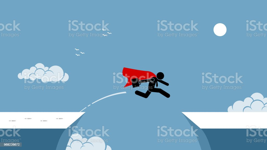 Businessman with red cape taking risk by jumping over a chasm. vector art illustration