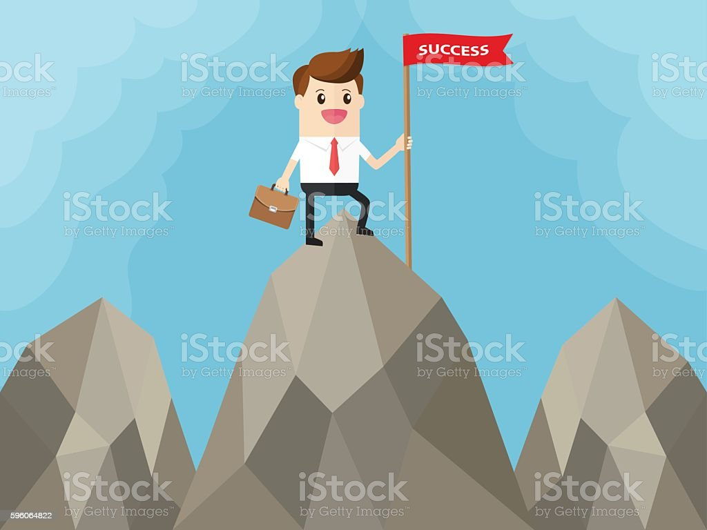 businessman with red flag on top of big mountain royalty-free businessman with red flag on top of big mountain stock vector art & more images of achievement