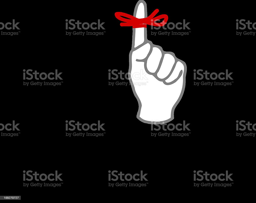 businessman with red ribbon on his finger vector art illustration