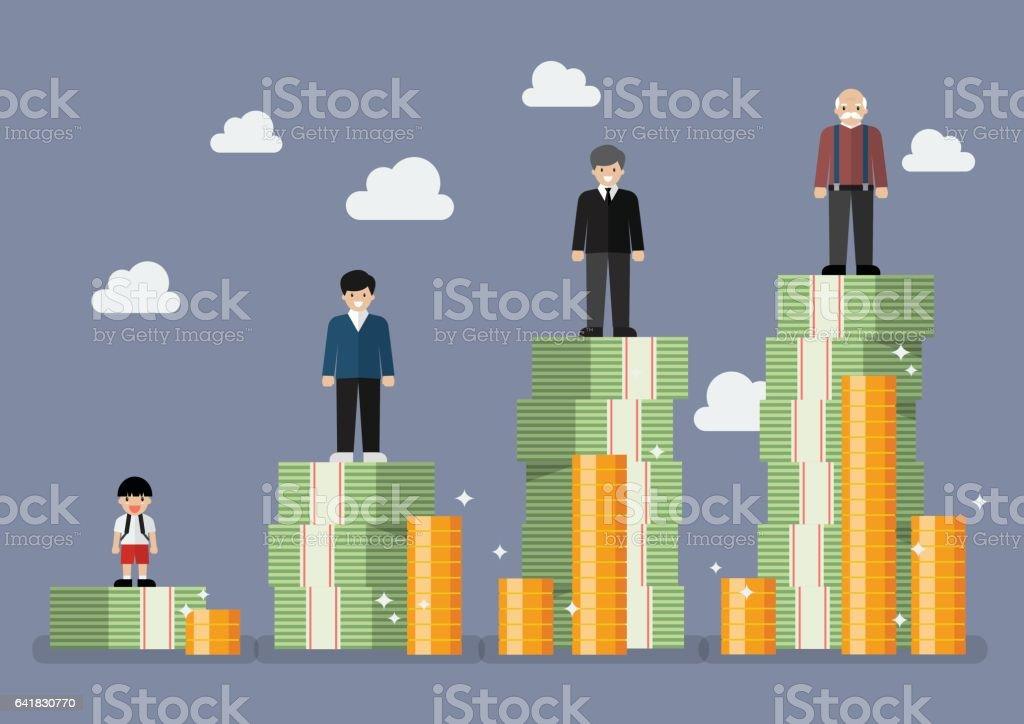 Businessman with retirement money plan vector art illustration