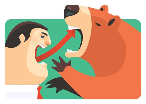 businessman with rising arrow symbol hitting bear