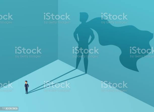 Geschäftsmann Mit Schatten Superhelden Supermanagerführer Im Geschäft Konzept Erfolg Qualität Der Führung Vertrauen Vektorillustration Stock Vektor Art und mehr Bilder von Aktivitäten und Sport