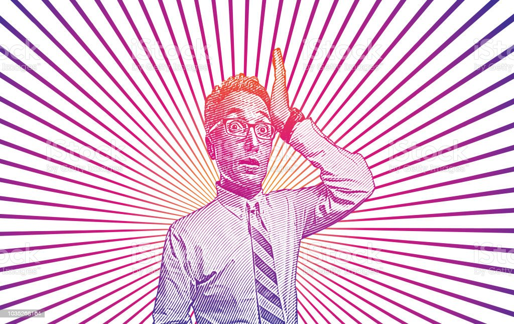 Businessman with shocked facial expression vector art illustration