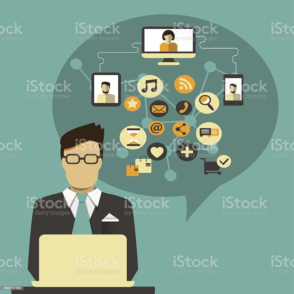 Businessman with speech bubble and social media icon vector art illustration