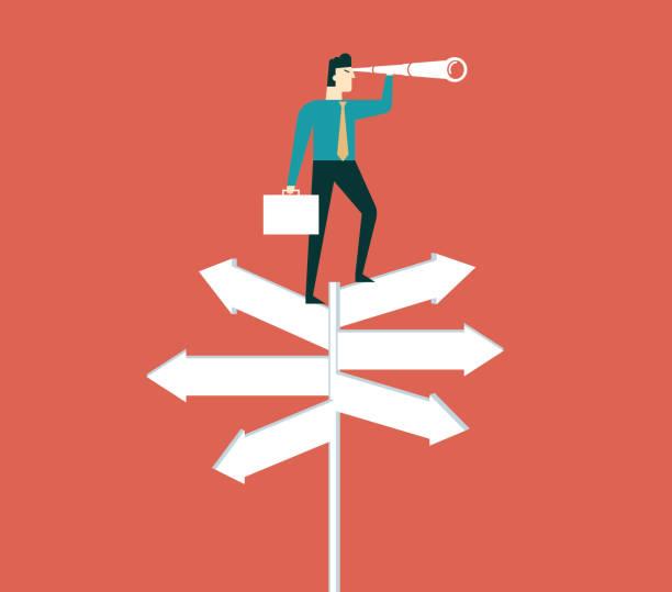 Geschäftsmann mit einem spyglass auf einer Kreuzung - – Vektorgrafik