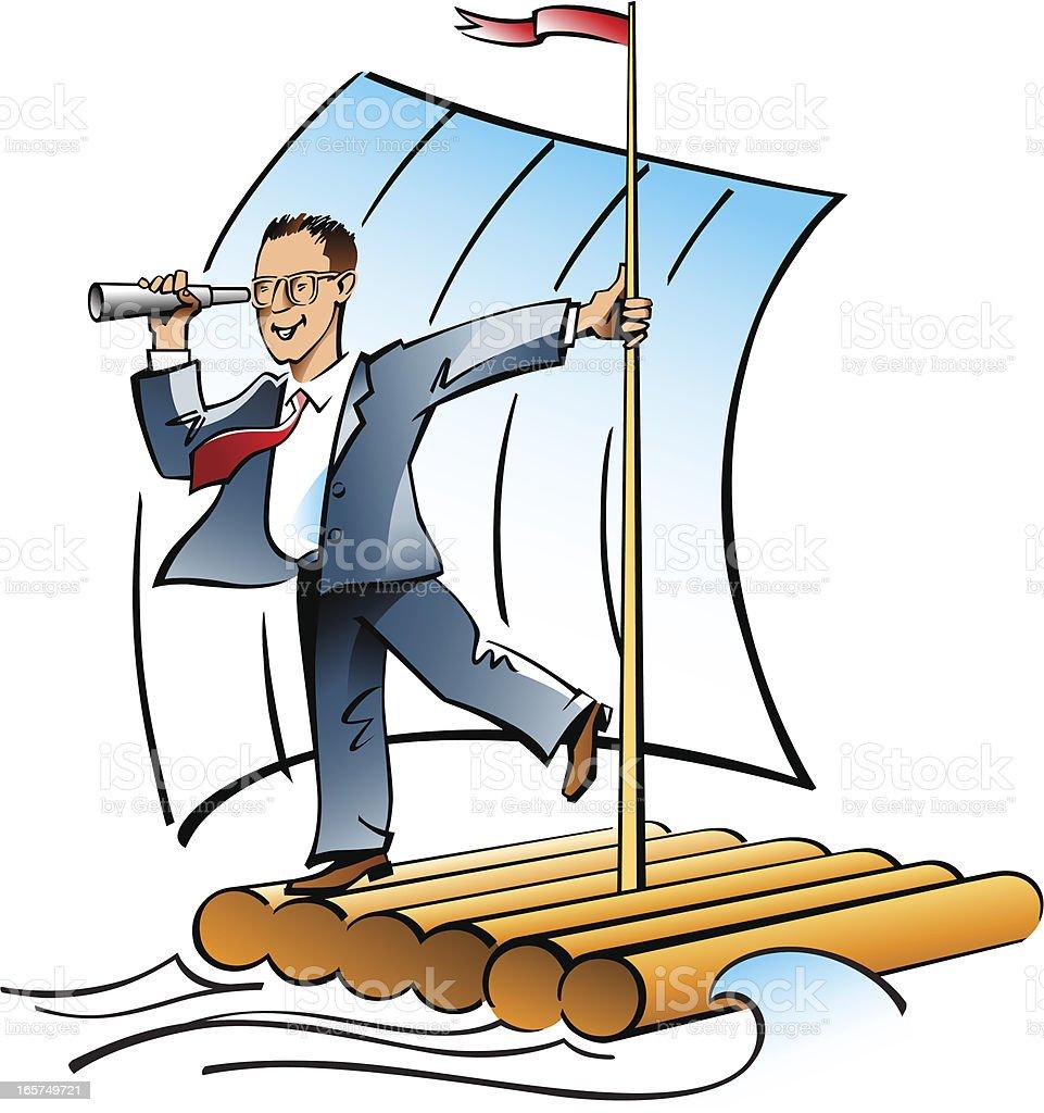 Businessman with spyglass vector art illustration