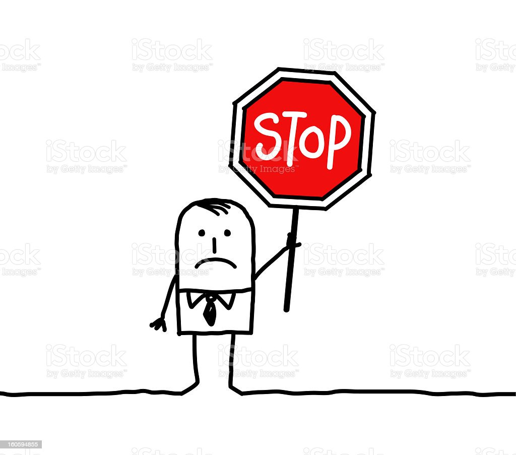 businessman with stop sign vector art illustration