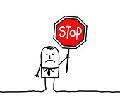 businessman with stop sign