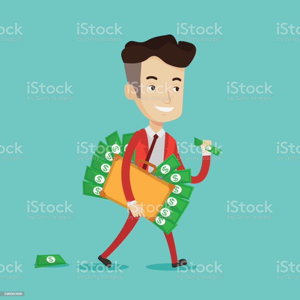 Businessman with suitcase full of money. royalty-free businessman with suitcase full of money stock vector art & more images of adult