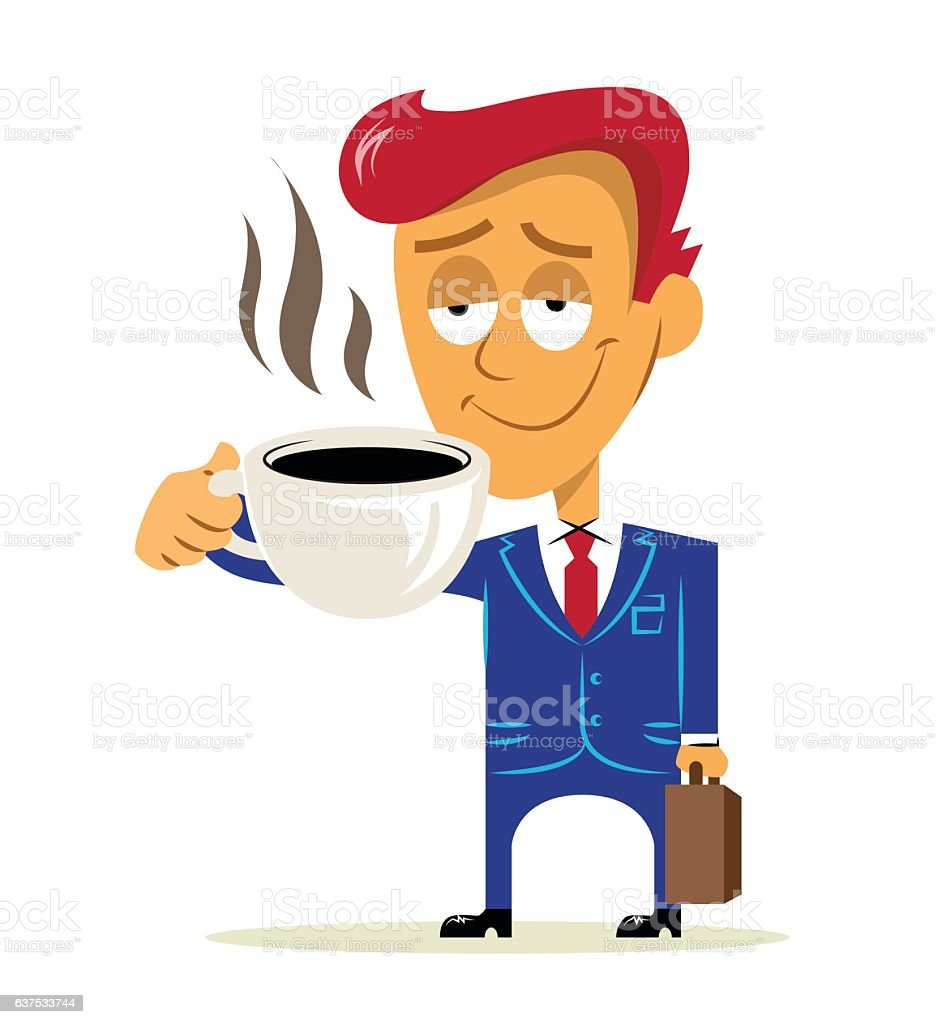 royalty free business man happy worker standing holding coffee and rh istockphoto com