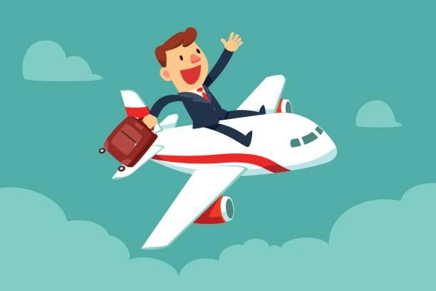 Geschäftsmann mit Koffer sitzen an der Spitze des Flugzeugs – Vektorgrafik