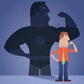 vector illustration of businessman with superhero shadow…