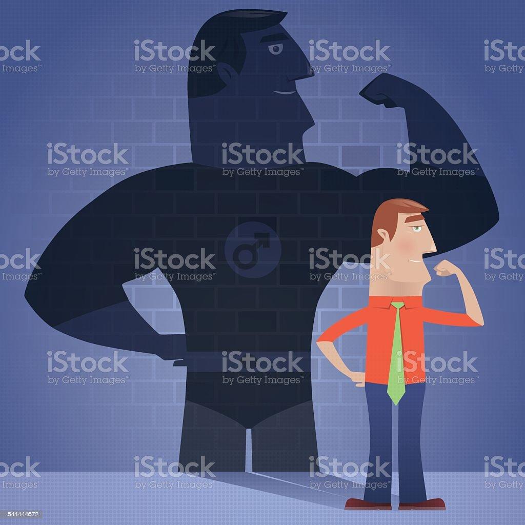 businessman with superhero shadow vector art illustration