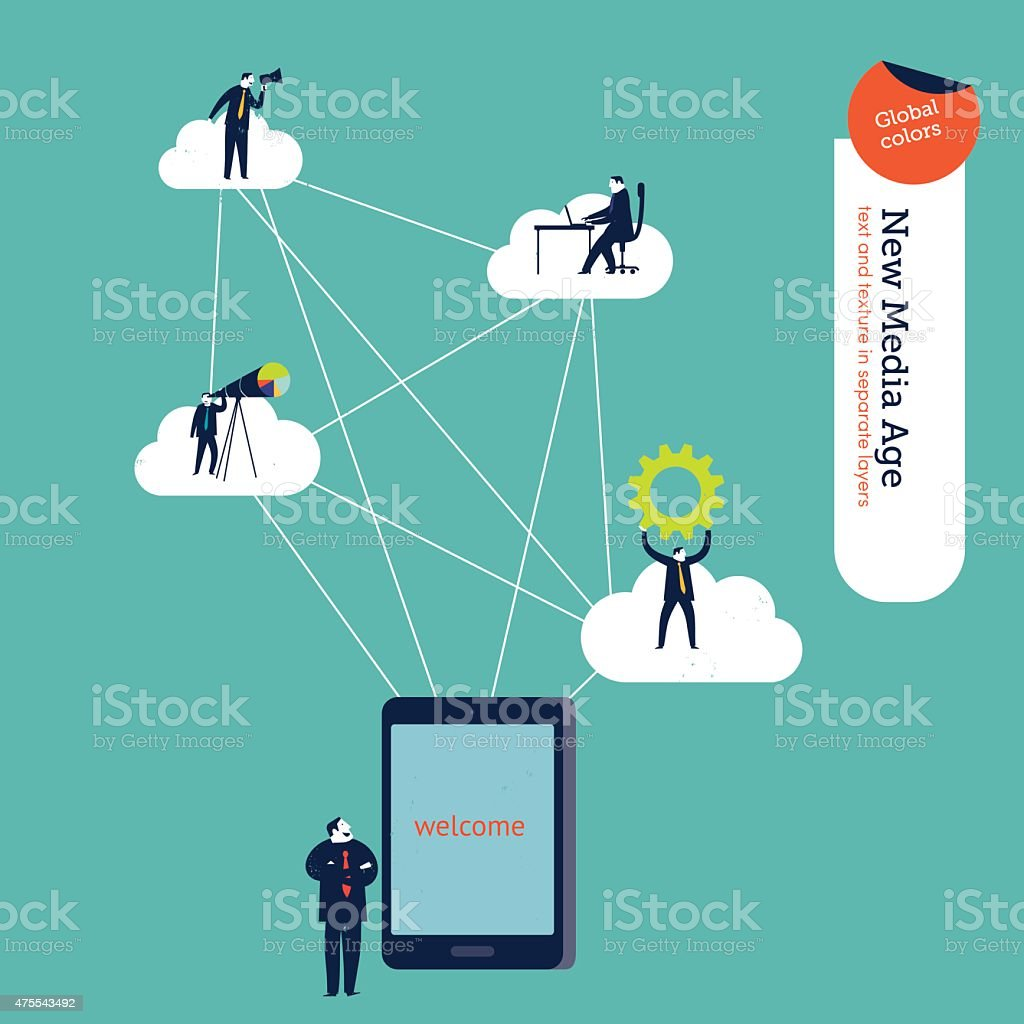 Businessman with tablet connected to different users and clouds vector art illustration
