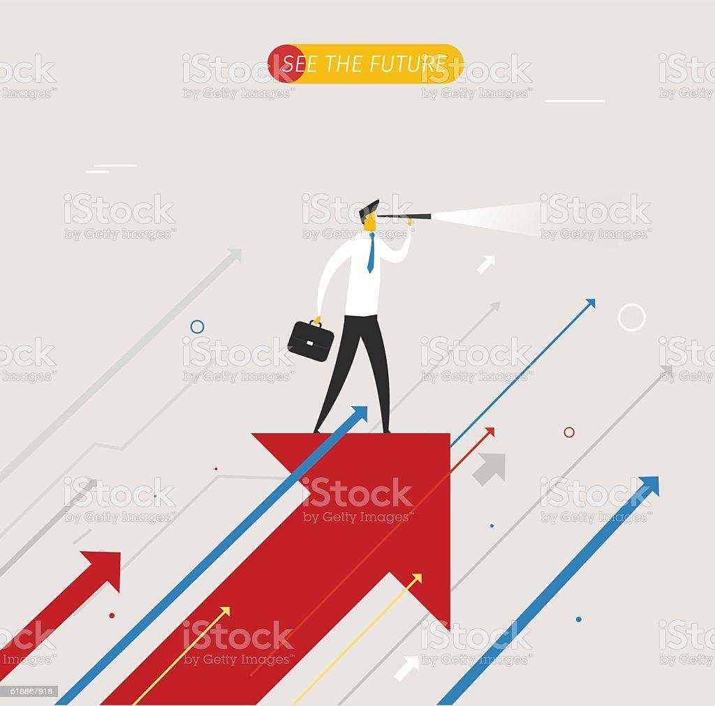 Homme d'affaires à la recherche à l'avenir, télescope - Illustration vectorielle