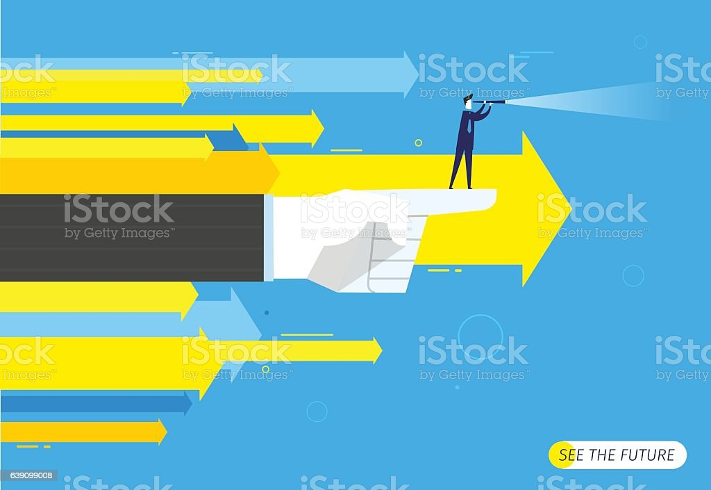 Businessman with telescope looking to the future. vector art illustration