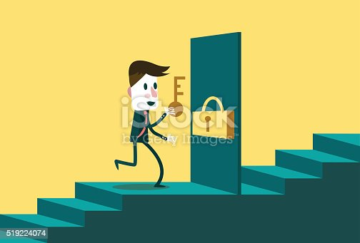 82186105 istock photo Businessman with the key open the door to next step. 519224074