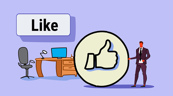 businessman with thumbs up symbol like icon successful social media marketing feedback concept workplace modern office interior full length sketch doodle horizontal