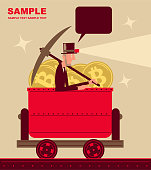 Unique Characters Vector Art Illustration. Businessman with top hat, pick axe and headlight is riding a mine cart full of Bitcoin (cryptocurrency mining).