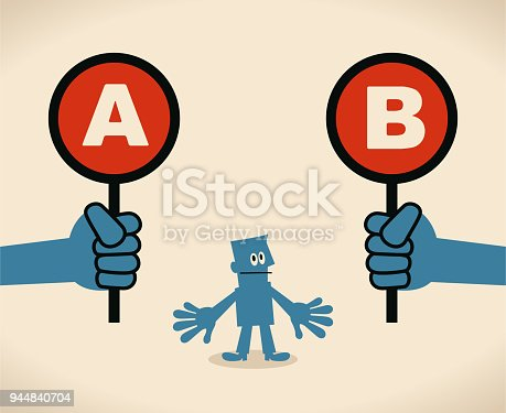 Blue Little Guy Characters Full Length Vector art illustration.Copy Space. Businessman with two options to choose between A or B.