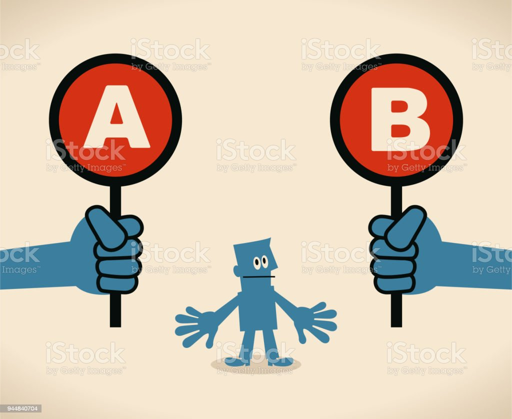 Businessman with two options to choose between A or B vector art illustration