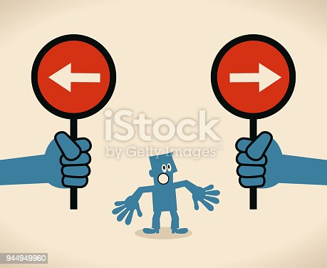 "istock Businessman with two options to choose between two opposite directional sign, concept about ""not know what course to take; with no definite plan to follow"" 944949960"