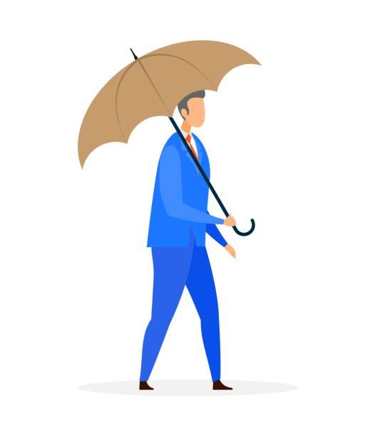 illustrazioni stock, clip art, cartoni animati e icone di tendenza di businessman with umbrella flat vector illustration - mockup outdoor rain