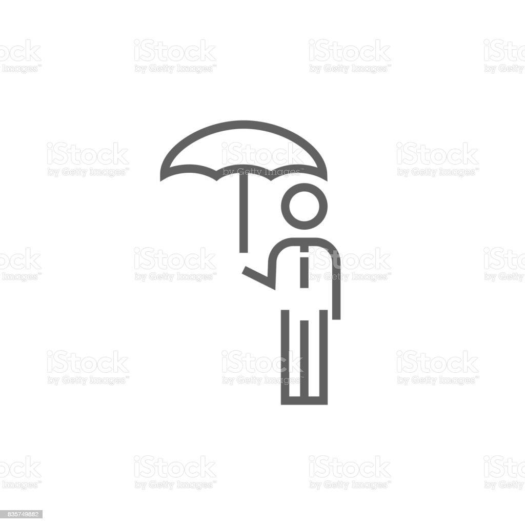 Homme d'affaires avec parapluie line icon - Illustration vectorielle