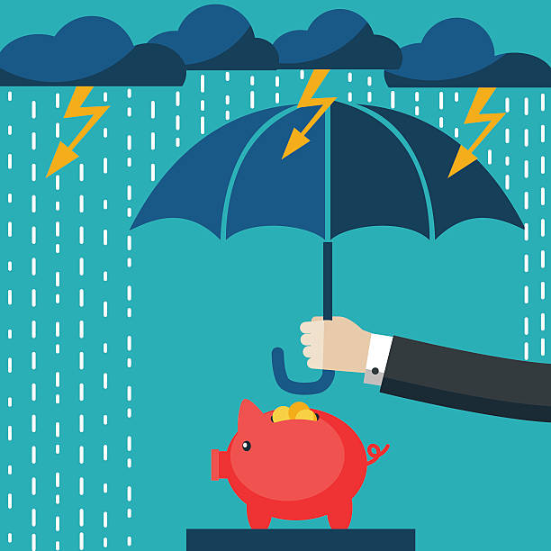 Businessman with umbrella protecting his piggy bank. Saving money concept Businessman with umbrella protecting his piggy bank. Saving money for any storm problem will come. Business concept. accidents and disasters stock illustrations