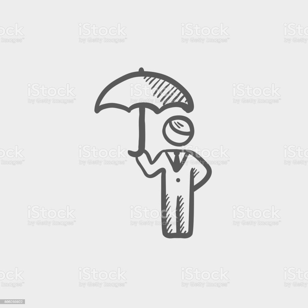 Homme d'affaires avec parapluie croquis icône - Illustration vectorielle