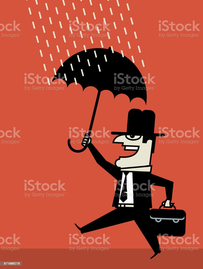 Businessman with umbrella vector art illustration
