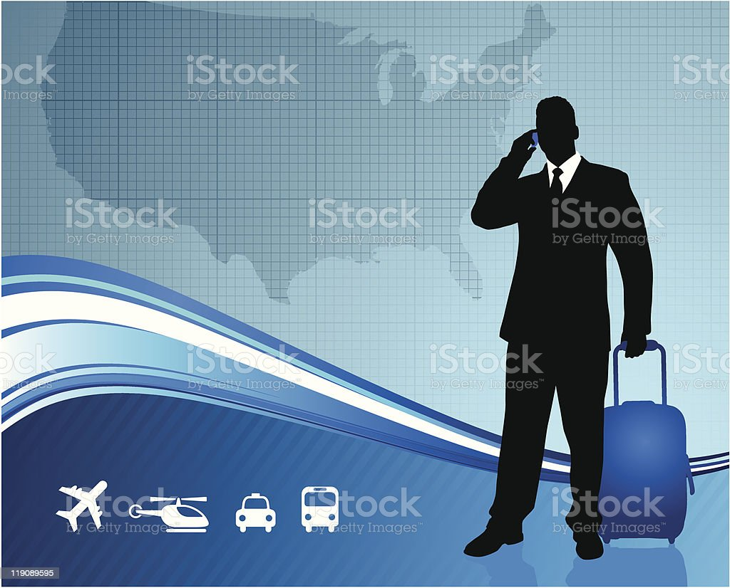 Businessman with United States Map Background royalty-free stock vector art