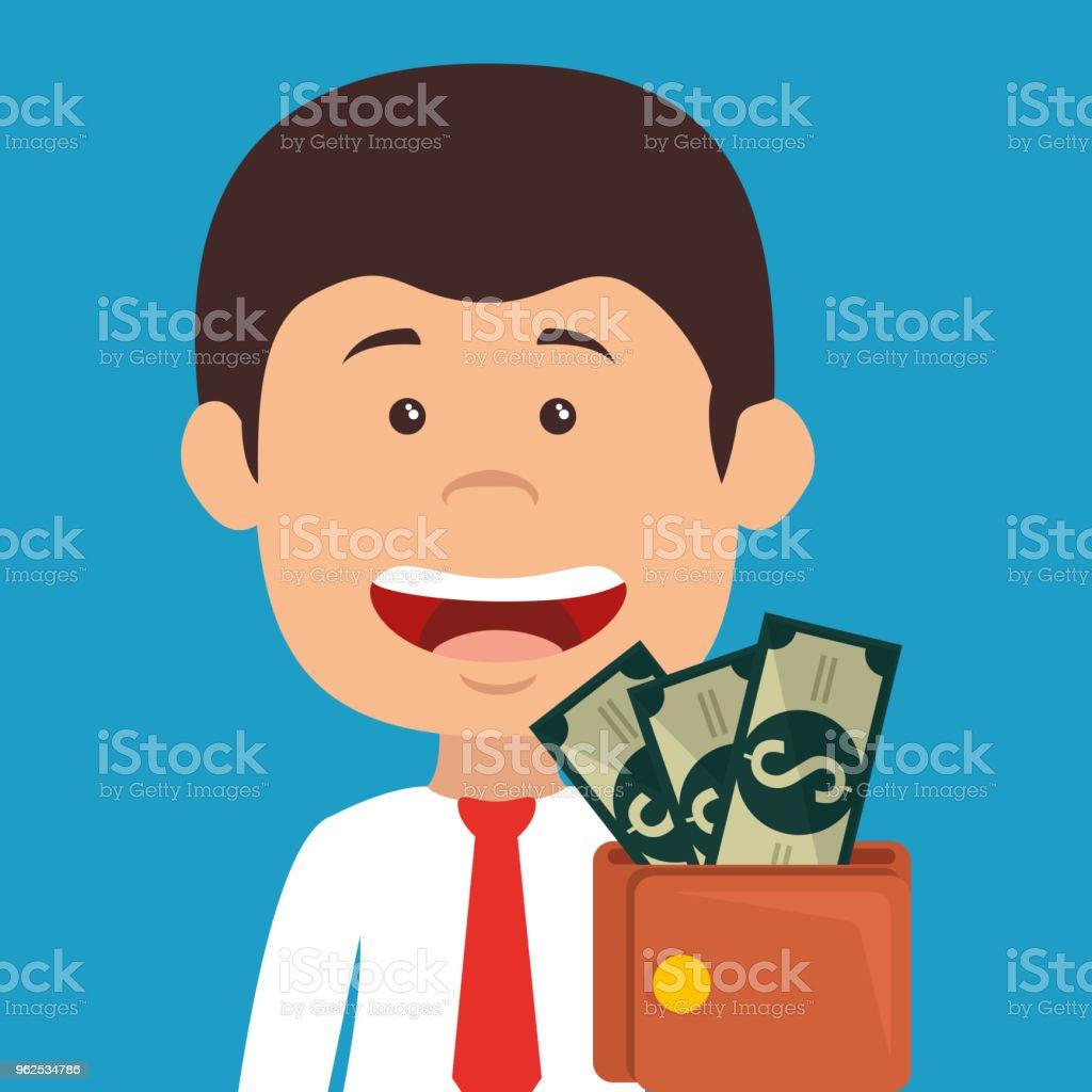 empresário com personagem de avatar de dinheiro carteira - Vetor de Adulto royalty-free