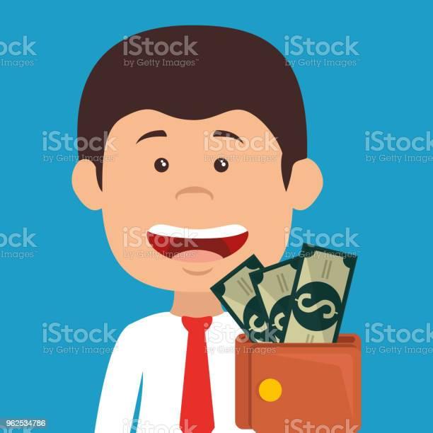 Vetores de Empresário Com Personagem De Avatar De Dinheiro Carteira e mais imagens de Adulto