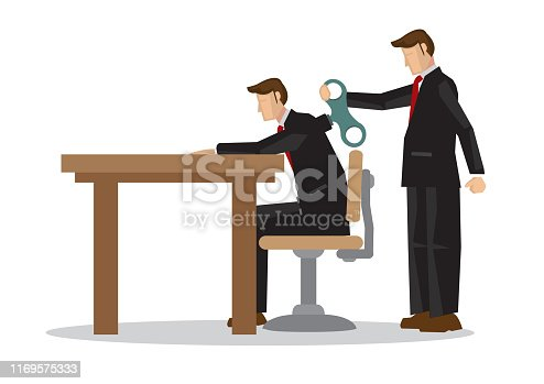 Businessman with winder in his back. Concept of weak worker, business mentorship or robot employee. Flat isolated vector illustration.