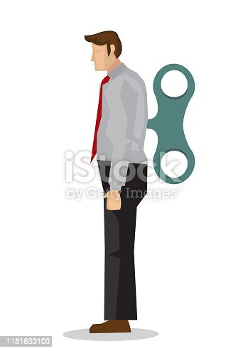 Businessman with winder in his back. Concept of weak worker or robot employee. Flat isolated vector illustration.