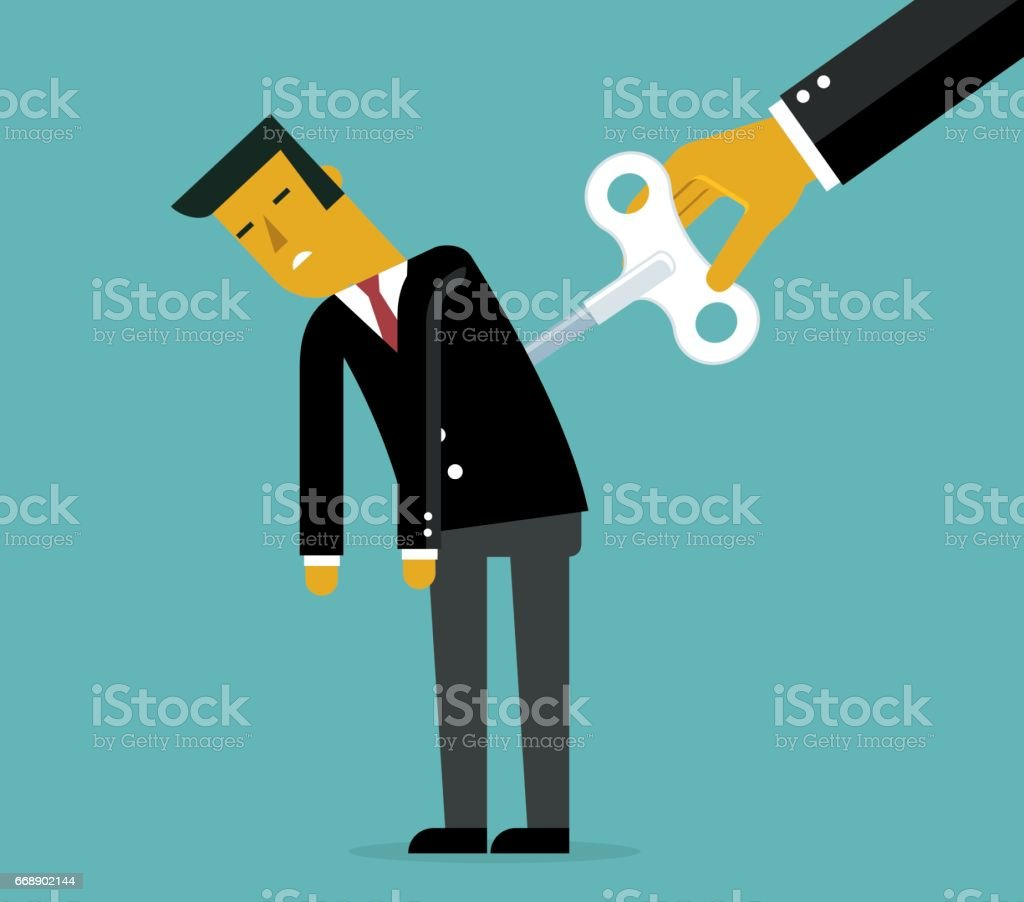 Businessman with wind-up key vector art illustration