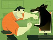 vector illustration of muscular businessman fighting against wolf via monitor…