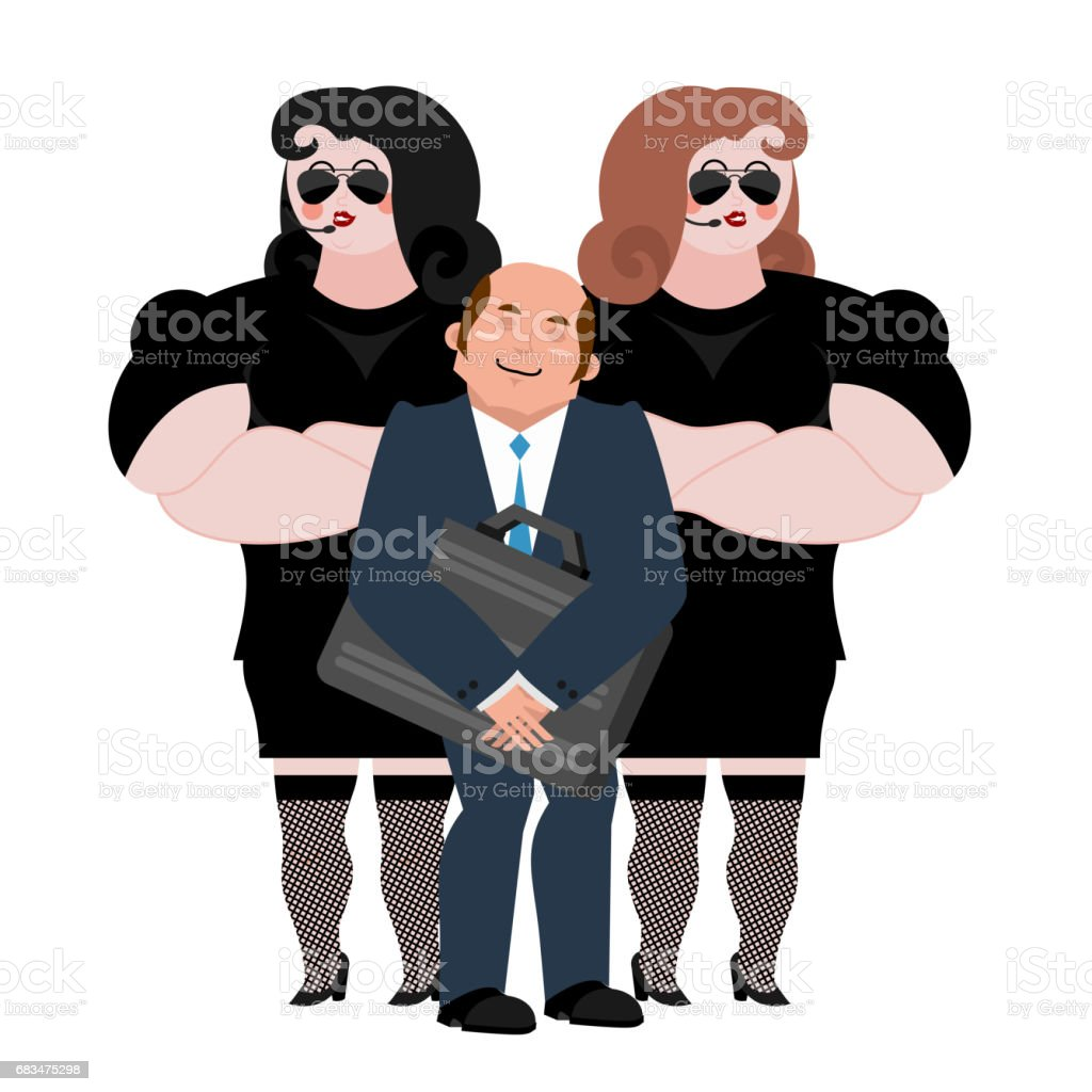 Businessman with wooman bodyguards. VIP protection. Black suit and hands-free. Strong Female Security on white background. Lady customer protection and professional team work. vector art illustration