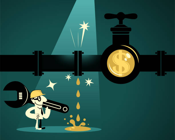 Businessman (Plumber) with wrench and work helmet finding leaky pipeline with dollar sign tap vector art illustration