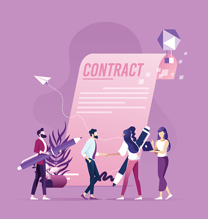 Businessman woman handshake after sign up contract successful transaction concept